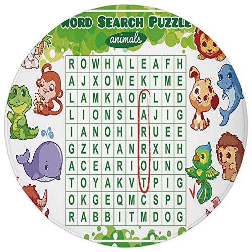 Round Rug Mat Carpet,Word Search Puzzle,Educational Game for Kids Decorated with Cute Animals Worksheet Print,Multicolor,Flannel Microfiber Non-Slip Soft Absorbent,for Kitchen Floor Bathroom -