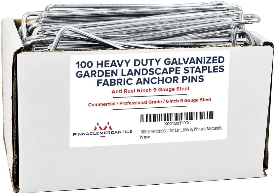 Pinnacle Mercantile 100 Pack Galvanized Garden Stakes Landscape Staples Extra Heavy Duty Sod Ground Anchors Anti Rust 6 inch Metal Pins 9 Gauge USA Made