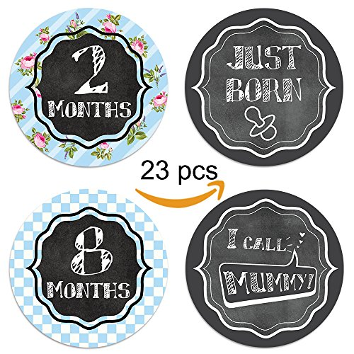 Baby Monthly Belly Sticker - 23 Pack of 4 Milestone Sticker for Newborn - Baby Shower Gift - Perfect Present for Family Keepsake - Photo Prop - Capture Precious Moment for Baby - Baby Fabric Stickers