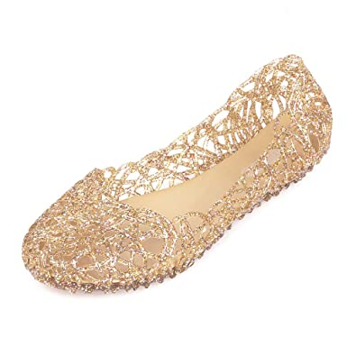 881e28c46 Hee Grand Womens Summer Jelly Shoes Ballet Flats Slip On Hollow Out Loafers  Bird Nest Mesh