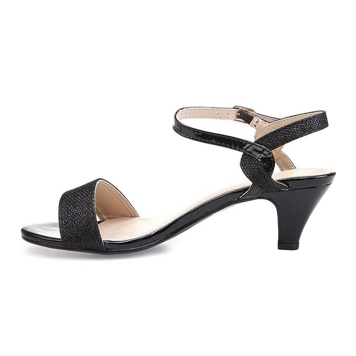 La Modeuse - Sandales bi-matière (Verni et Tissu pailleté) à Talon bottier   Amazon.fr  Chaussures et Sacs d26ba4635b2b