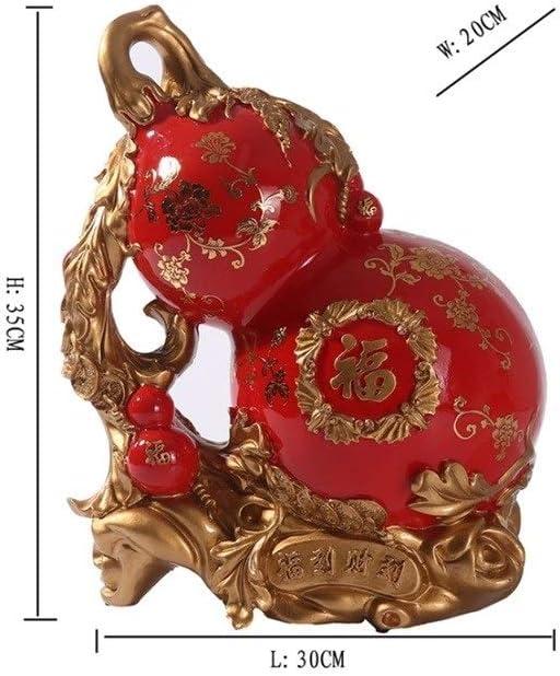 MINGTAI 中国のひょうたん貯金箱特大樹脂貯金箱結婚式の贈り物装飾Groomsmanの手のギフトダークレッドウッド色のひょうたん ( Color : Walnut )