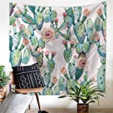 Cactus Decor Tapestry Wall Hanging Decor Art Home Decor, Yellow and Green Watercolor Printed Bedroom Living Room Dorm Wall Hanging Tapestry Beach Throw/Table Runner/Cloth(GT11-C-7)(W:59''H:51'')