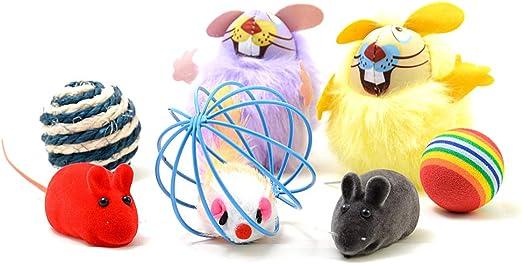 4yourpet - Juego de juguetes para gatos y gatos (7 piezas, con diferentes ratones de juego, incluye menta para gatos y pelotas de juego): Amazon.es: Productos para mascotas