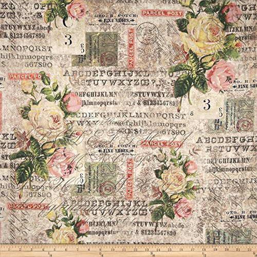 Fabric Rose Floral (FreeSpirit Fabrics 0410711 Tim Holtz Electric Elements WallFlower Rose Parcel Multi Fabric by The Yard Multicolor)