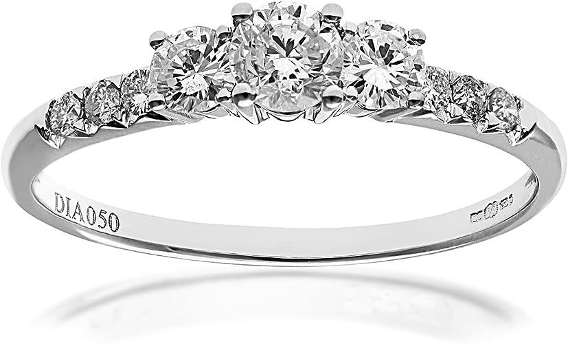 Anello di fidanzamento in oro bianco 18k con diamante navaa PR10963 18KW-J