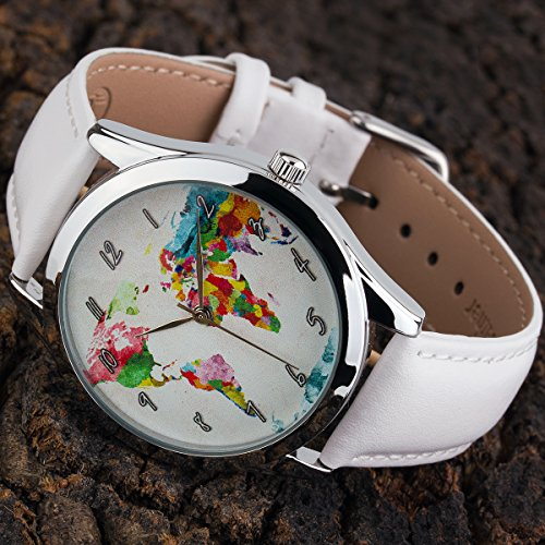 World Map Watch - Watercolor Map Watch for Women with White Leather Band - Quartz Japan Movt - Traveler Gift by Handmadepeople (Image #2)