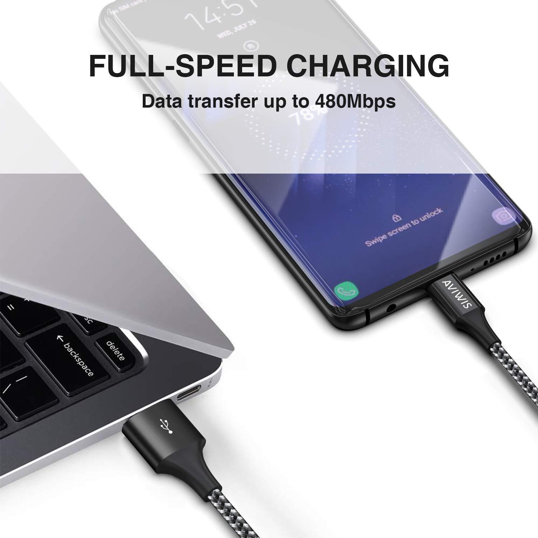 Nylon Intrecciato Cavo Type C di Ricarica Rapida e Trasmissione USB C Cable per Samsung Galaxy S10// S9// S8 AVIWIS Cavo USB Tipo Sony Xperia XZ Mi A1 Huawei P20// Mate20 4 Pezzi, 0.5m 1m 2m 3m