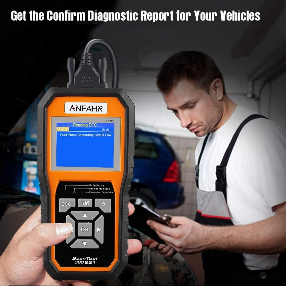 Basic Diagnostic Code Reader for Vehicle Engine Scan Tool Vehicle Fault Detector ANFAHR OBD2 OBDII EOBD Automotive Car Scanner Orange