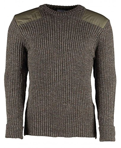 British Commando Sweater Woolly Pully Crew Neck with Epaulets (Small / 36-38 inch, Derby Tweed)