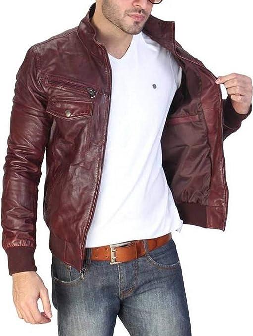 RedSeam Mens Genuine Lambskin Leather Motorcycle Slim Fit Biker Bomber Jacket RM109