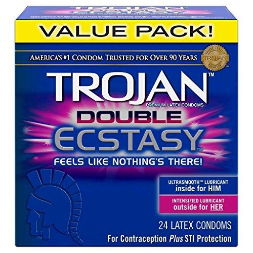 (Trojan Double Ecstasy Premium Condoms Retail Box of 24 (( Pack of 2 )))