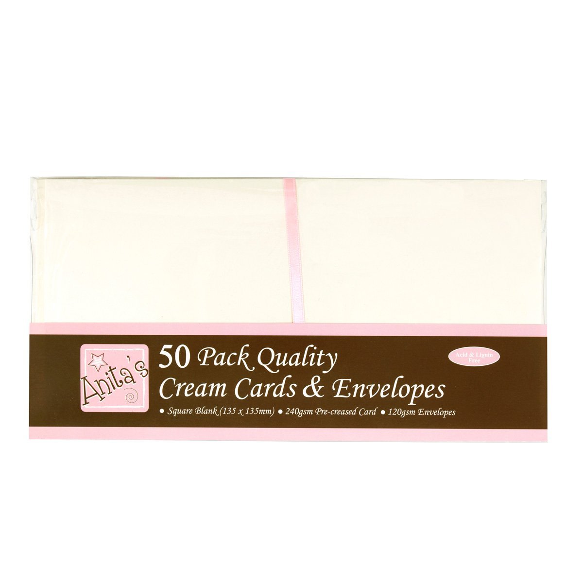 Anita's Square Card and Envelope, Pack of 50, Cream Docrafts A1512021