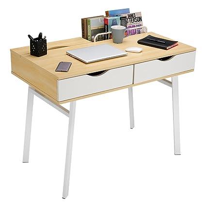 LANGRIA Escritorio Grande Moderno con 2 Cajones y 2 Compartimentos Estructura Resistente con 4 Patas Metálicas Mesa de Ordenador Estudio Hogar ...