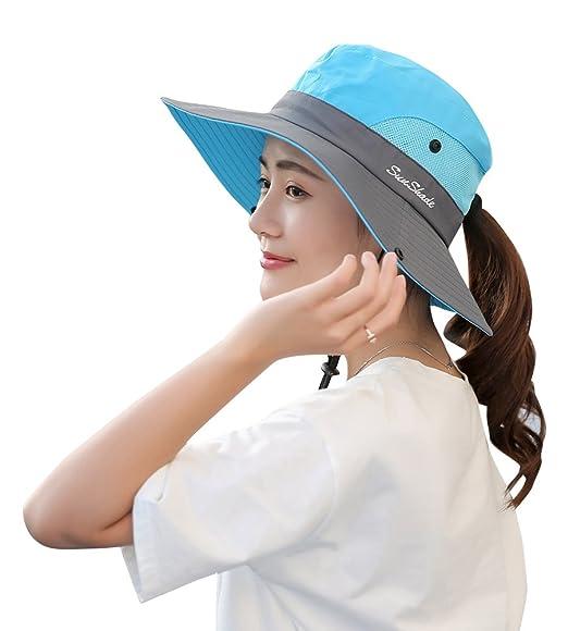 710b3a85df8 EachWell Waterproof Sun Hat Outdoor UV Protection Bucket Mesh Boonie Hat  Adjustable Fishing Cap Blue