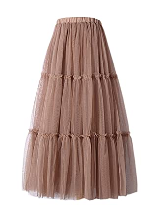 0d30a730f9ca Futurino Women's Waistband A-line Ankle Length Mesh Layered Tulle Skirt  Wedding at Amazon Women's Clothing store: