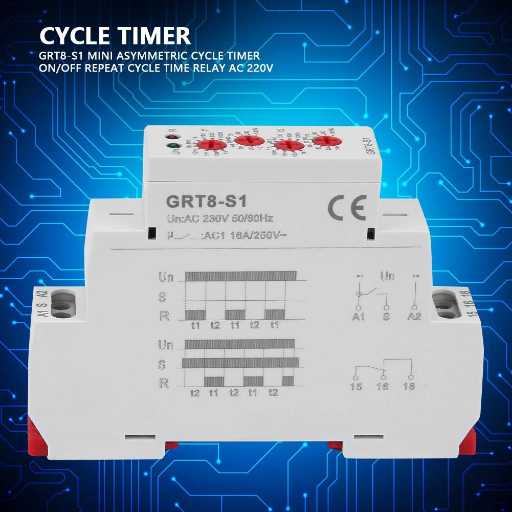 Naroote Mini Asymmetric Cycle Timer ON//Off Repeat Cycle Time Relay AC 230V GRT8-S 1