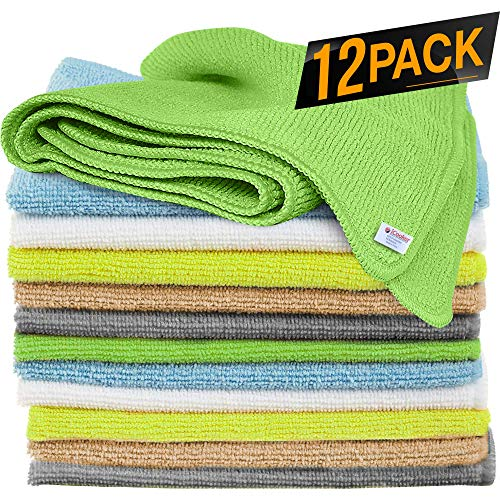 12 Pack Microfiber Cloths Cleaning Supplies [Get Lint-Free Polished Results] Micro Fiber Cleaning Towels, Chemical Free Kitchen Towel, Clean Windows & Cars