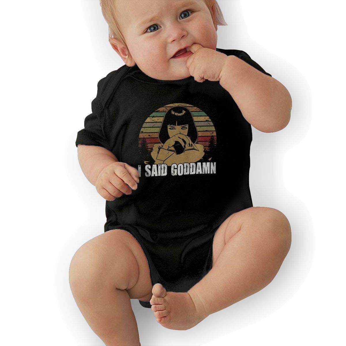 SHWPAKFA Infant I Said Goddamn Adorable Soft Music Band Jersey Bodysuit,Black,0-3M