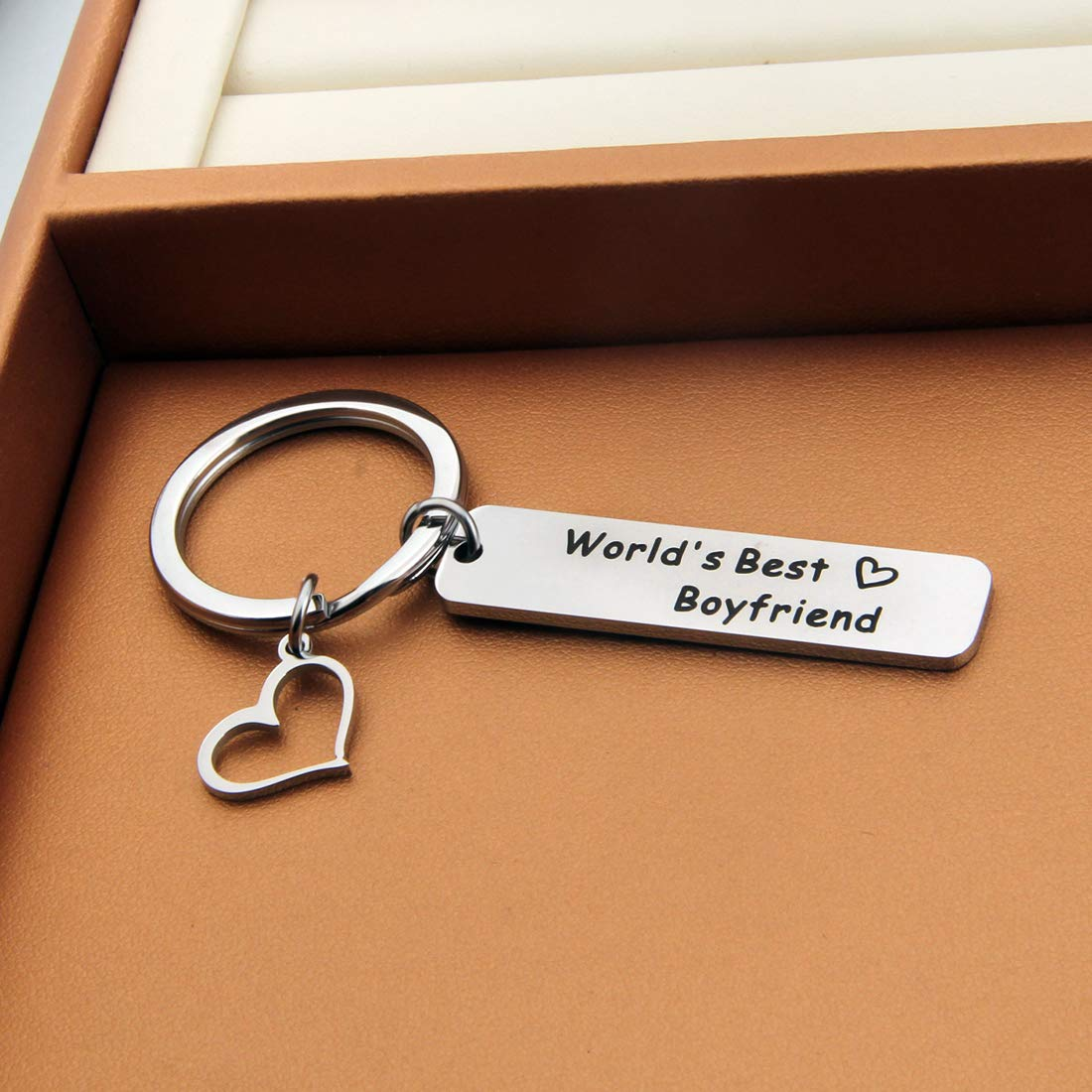 HOLLP Worlds Best Boyfriend//Girlfriend Couple Keychain for Lovers Anniversary Jewelry from Your Girlfriend//Girlfriend