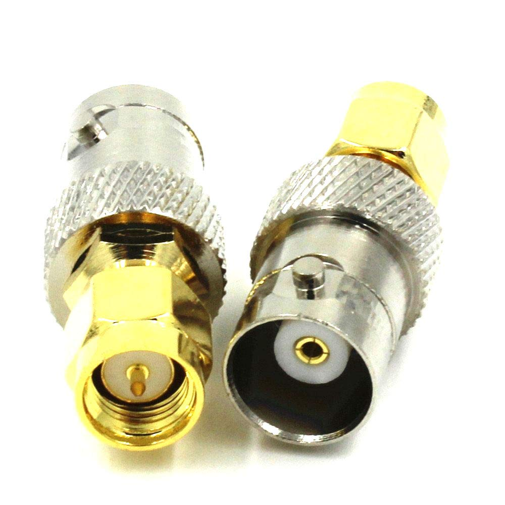 100PCS Copper BNC Female to Gold Plated SMA Male Plug Coax RF Coaxial Coax Antenna Adapter Connector