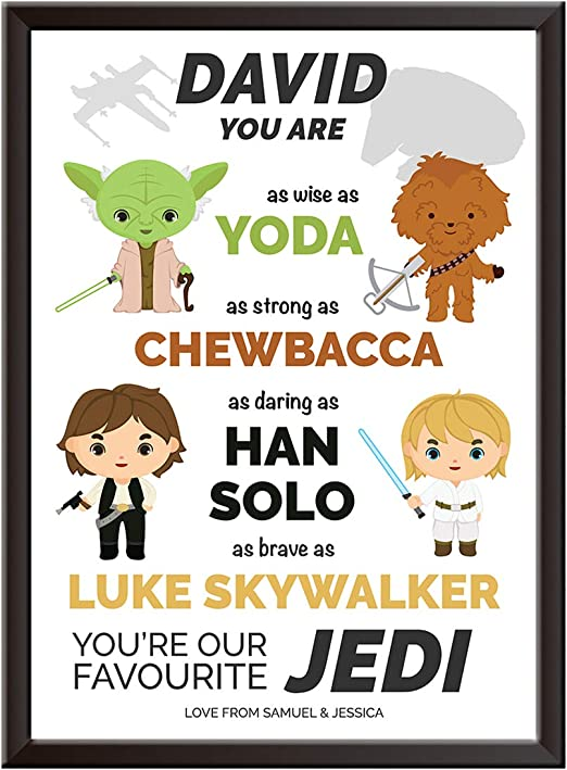 1x A4 Personalised print Dad i think you are yoda