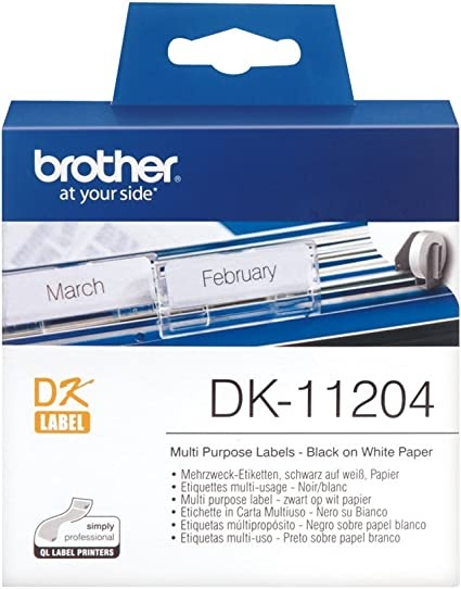 40 x Compatible Labels Brother DK-11204 DK11204 17 mm x 54 mm 400pcs//Roll White