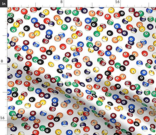 Spoonflower Billiards Fabric - Billiards Pool Balls Solids Stripes Billiards Man Cave Pool Balls Eight Ball Games Pool 8 Ball by Thinlinetextiles Printed on Petal Signature Cotton Fabric by The -