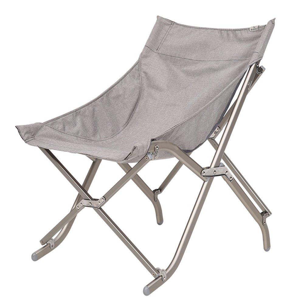 QFFL 補強アルミ合金緩い折りたたみ椅子/ポータブルキャンプ用ビーチ背もたれの椅子/実用的な単純な釣りの椅子/多機能のムーンチェア(3色使用可能) アウトドアスツール (色 : Gray) B07F5QZJSD Gray Gray