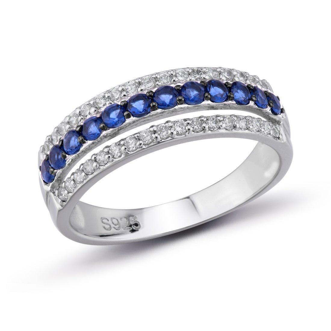 Santuzza 925 Sterling Silver Rings for Women Blue Nano Cubic Zirconia Stones Party Fashion Jewelry (8)