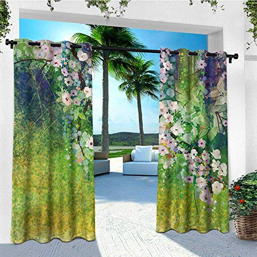 - leinuoyi Flower, Outdoor Curtain Modern, Traditional Multicolored Japanese Cherry Blossom Sakura Tree Petals Grass Land Paint, Outdoor Privacy Porch Curtains W72 x L108 Inch Pink Green