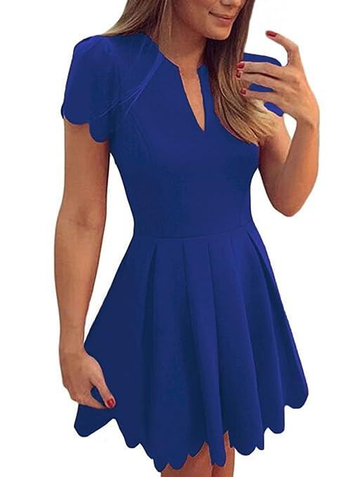 Women Short Sleeve Sweet Scallop Pleated Skater Dress