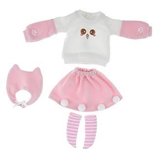MagiDeal Maglione Pullover Manica Lunga Con Gonna Calze Per 1/6 Blythe Bambola 12'' Cotone Rosa Bianco