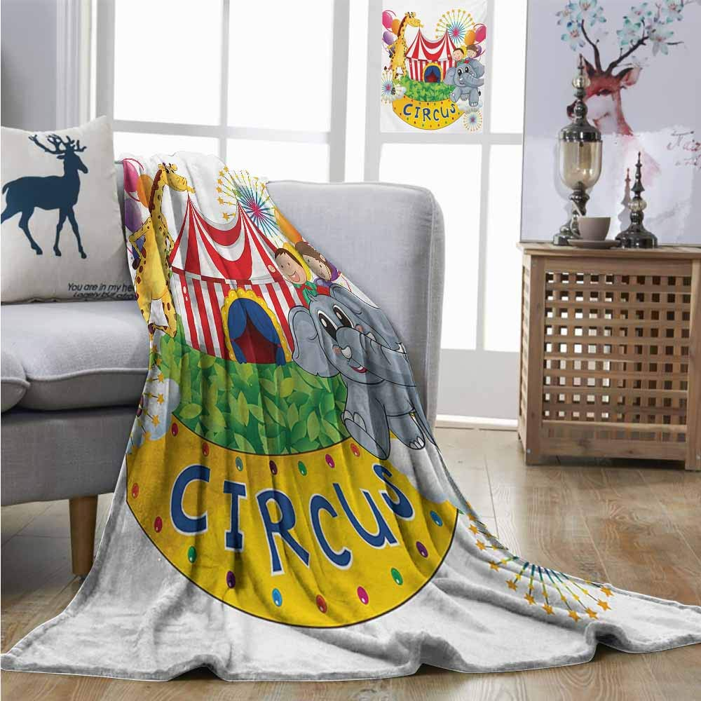 Homrkey Throw Blanket Circus Circus Show with Kids and Animals Smiling Magician Childhood and Happiness Theme for Summer W70 xL93 Multicolor