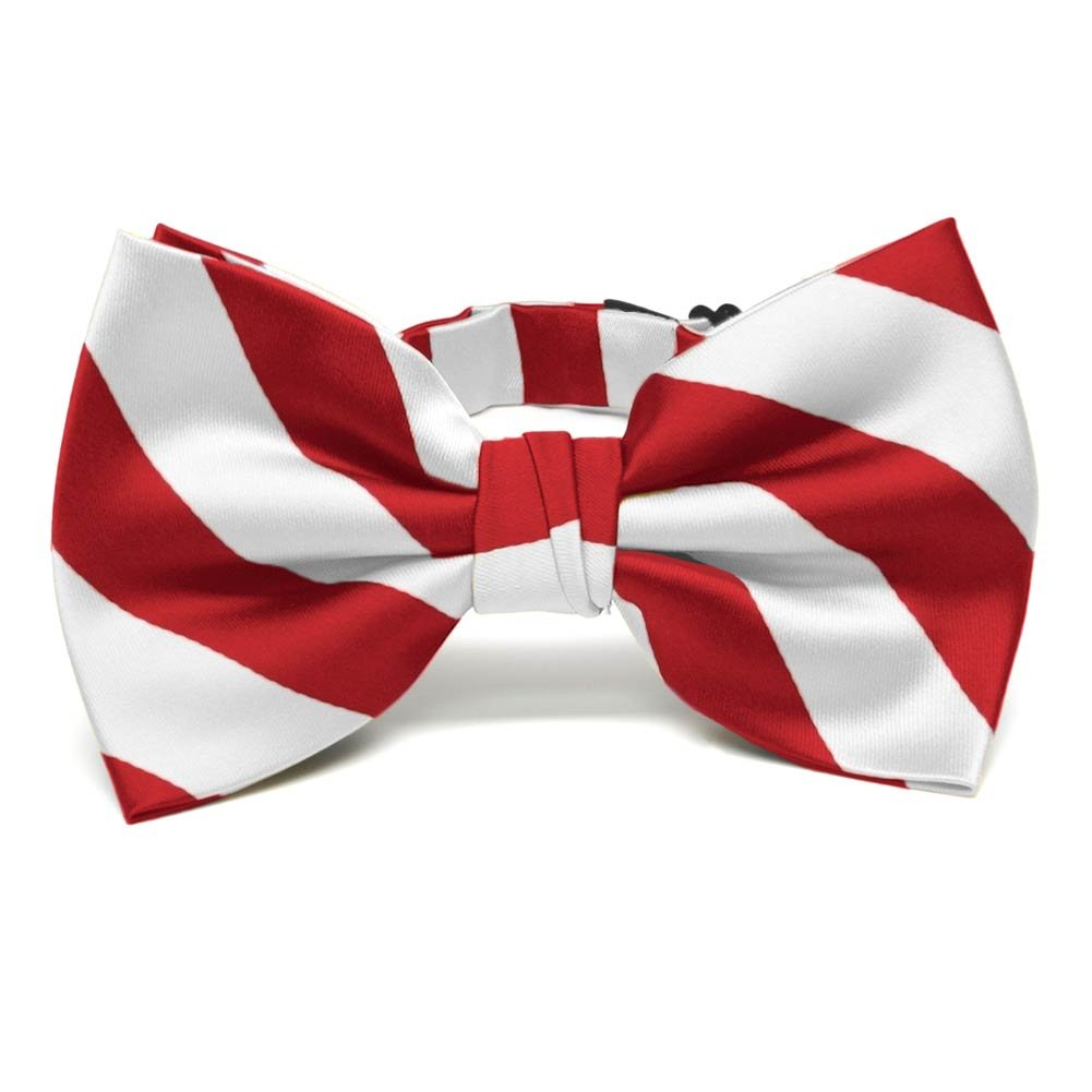 TieMart White and Red Dual Color Bow Tie