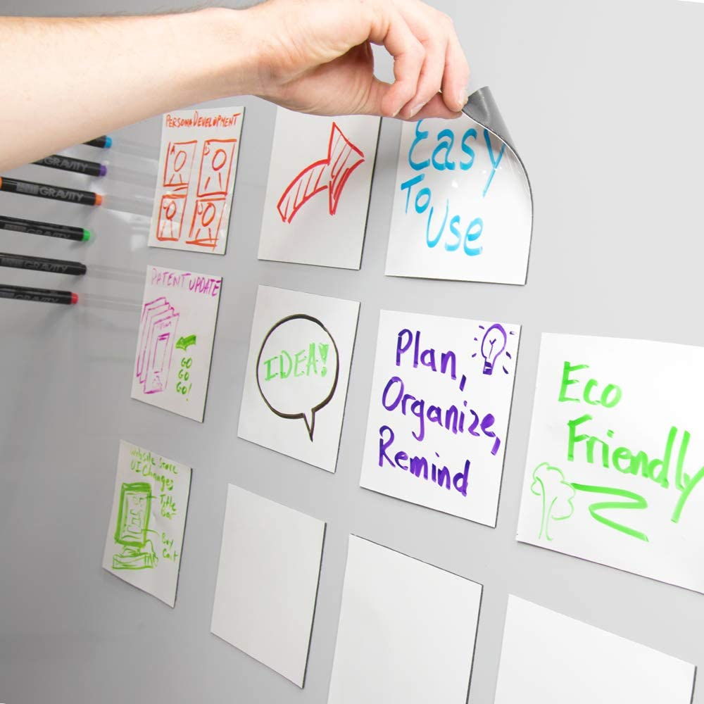 mcSquares Stickies Dry-Erase Sticky Notes - Reusable Whiteboard Stickers - 5 inch Square 24 Pack - Post Reminders, Labels, Lists, and Decals - Never Buy Paper Notes Again, Its Eco-Friendly!