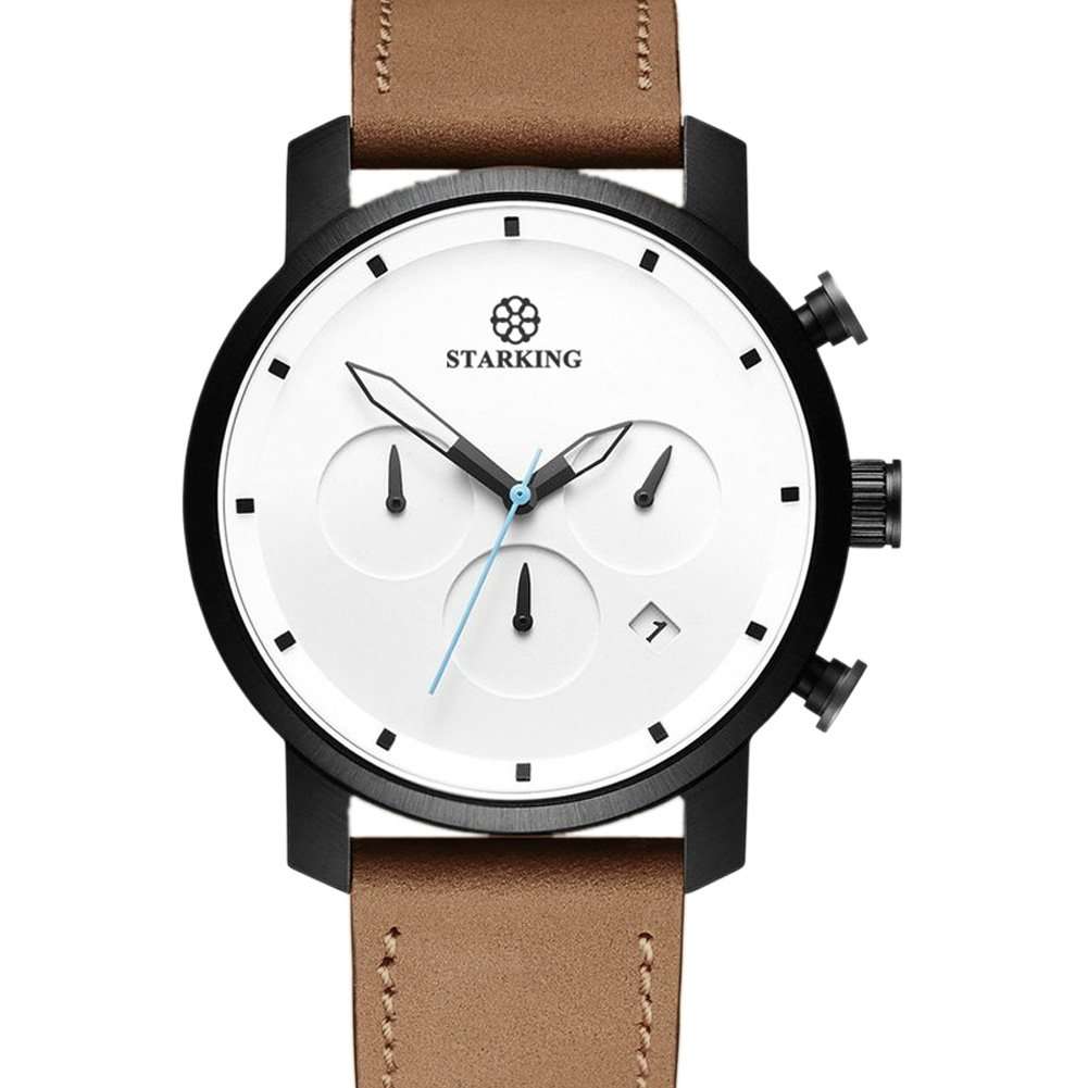 STARKING Top Brand Luxury Mens Chronograph Wrist Watch TM0913 Leather Watch Men Casual Style Fashion Minimal Waterproof Watches Scratch Proof Male by STARKING (Image #1)
