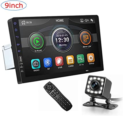 CarThree 9 Inch Single Din Car Stereo HD 1080P Car Radio Touch Screen with Rear View Camera Mirror Link Bluetooth FM Radio Tuner AUX//USB//Car MP5 Player