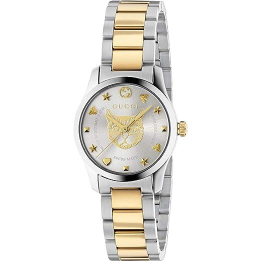 Reloj Gucci de Mujer G-Timeless 27 mm de Acero Inoxidable de Oro felino YA126596: Amazon.es: Relojes