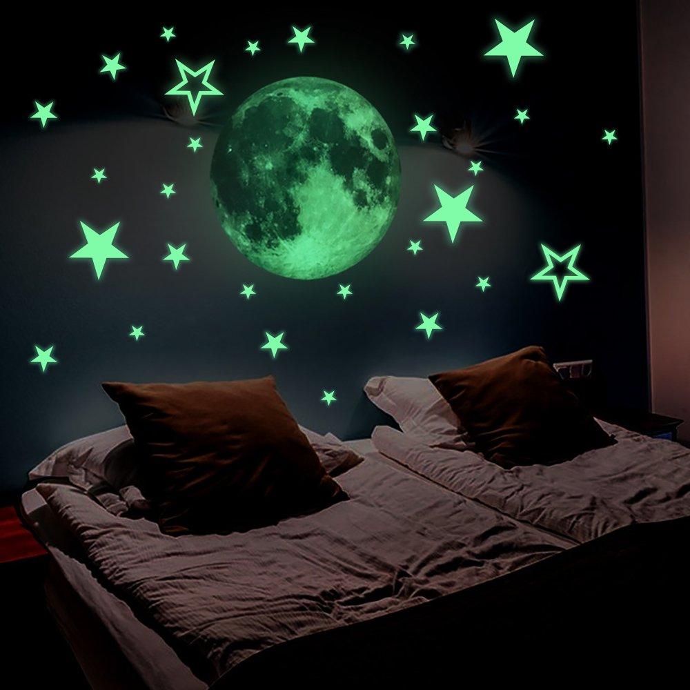 Lamdgbway Lumineux 26pcs Étoiles et 30cm Lune Autocollants Brille Dans le Noir Fluorescents Autocollants Pour décoration Maison Enfants Chambre
