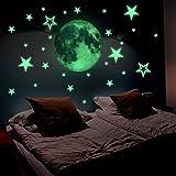 Lamdgbway Luminoso Stelle e Luna Adesivi Si illuminano al buio fluorescenti Decalcomanie Per Parete decorativa