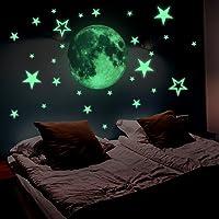 Lamdgbway Lumineux Étoiles et Lune Autocollants Brille Dans le Noir Fluorescents Autocollants Pour décoration Maison Enfants Chambre