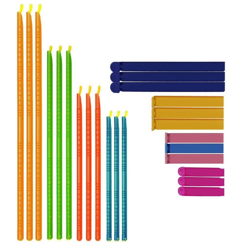 24 pcs Bag Sealing Clips, SENHAI 2 Types Plastic Sealer Stick Airtight Fresh-Keeping Clamp for Food Snack Bag - Multi Length, Random Color