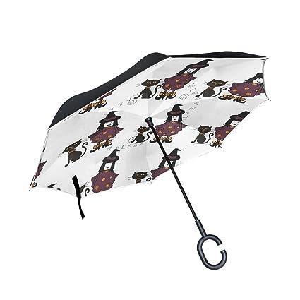 COOSUN Brujas y Gatos patrón de Doble Capa del Paraguas invertido inversa para el Coche y ...