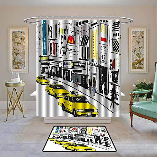 Kenneth Camilla01 Shower Curtain Modern,Times Square New York with People in Street Taxi Cabs Traffic Fashion Illustration,Multicolor,Water Resistant Decorative Bathroom Fabric 72