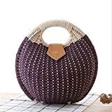 DCRYWRX Womens Summer Hand Weave Straw Top Handle Beach Bag Shell Shape Handbag Rattan,B