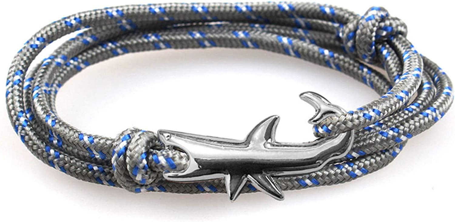Charm Jewelry Gift Viking Bracelet Shark Rock Bracelets Handmade DIY Gift Men Jewelry Bracelets Bangles Best Friend Charm Wristband 6C0496