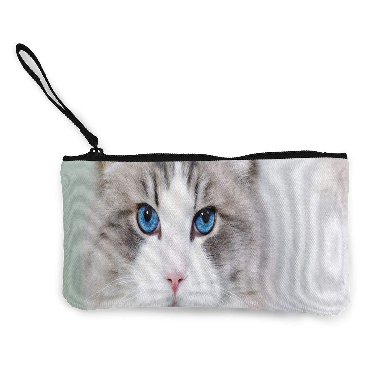 Coin Purse White Cat With Blue Eyes Womens Zipper Canvas Purse Wallet ChangeHot Case