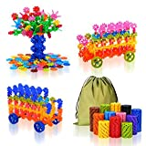 QuadPro Building Blocks 570 Piece Plastic Discs with 4 Set Wheels, Creative Flakes Kids Preschool Educational Stem Toys for Boy and Girls