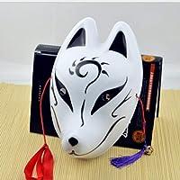 WEIZHUANGZHE Máscara de Zorro japonés de PVC Demonio Kitsune Cosplay Mascarada Pintada a Mano de Cara Completa